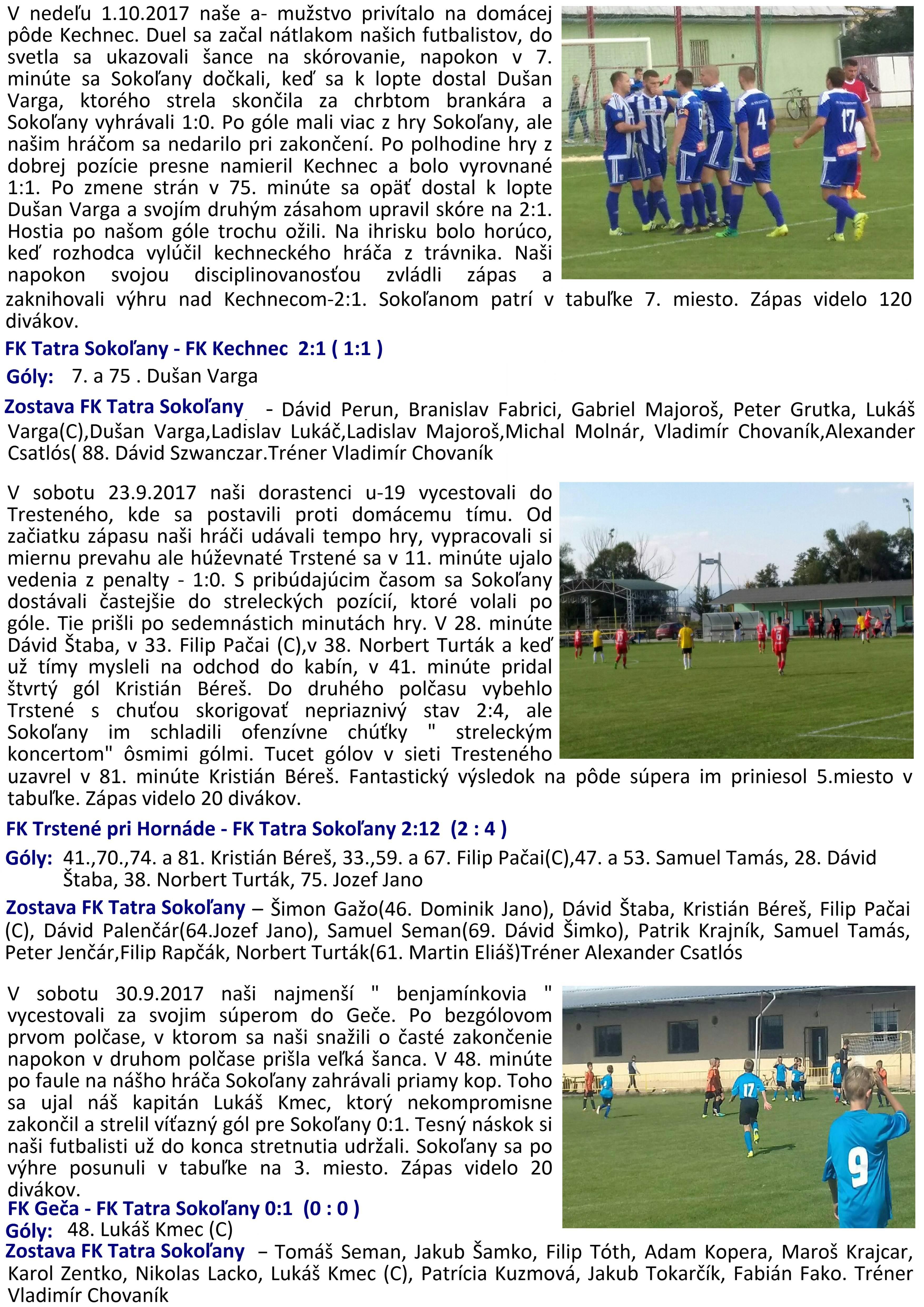 f329e2f94 Výsledky futbalových zápasov prípravky, dorastencov a mužov zo dňa 30.09. a  01.10. 2017