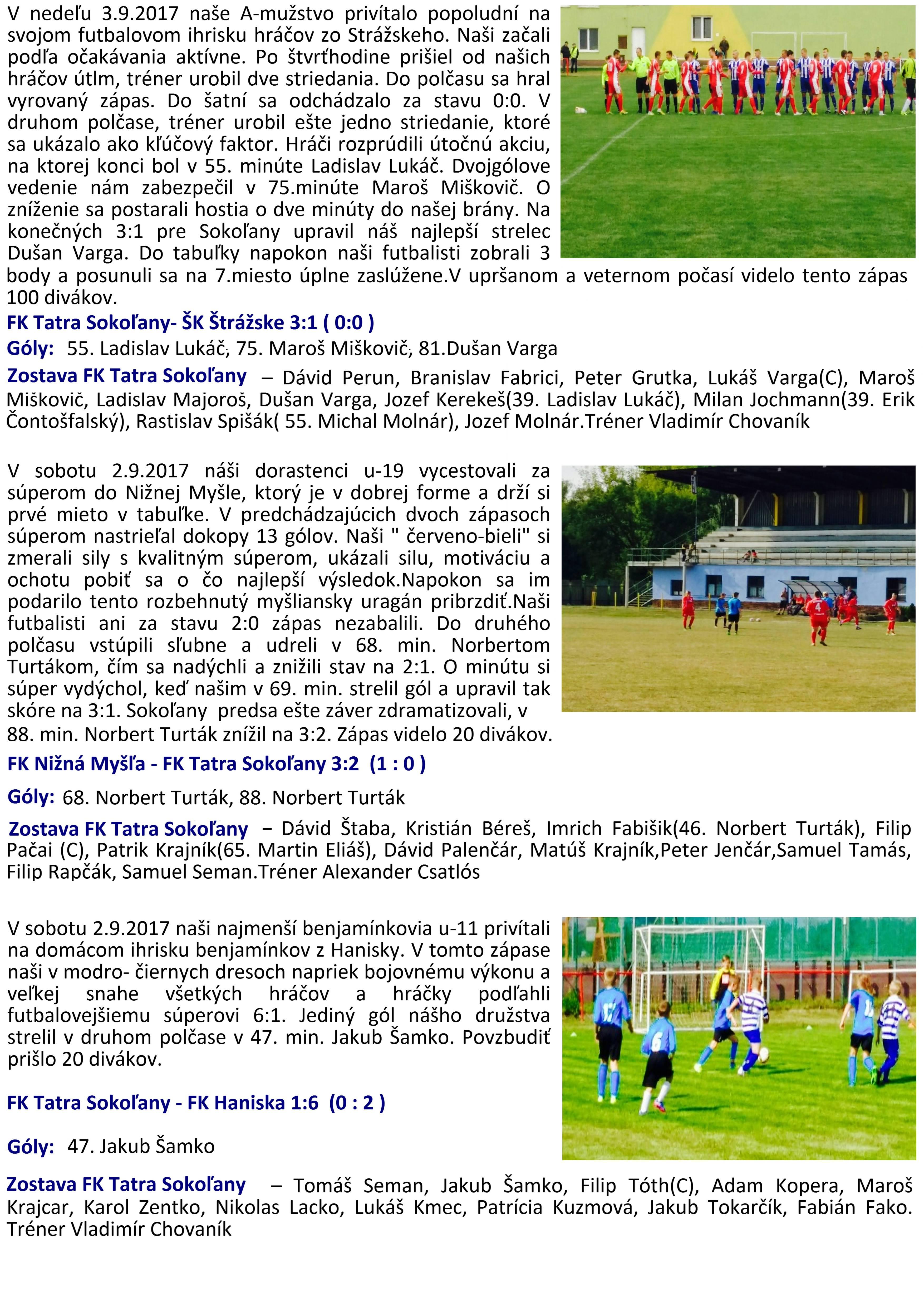 c3858e0a5 Výsledky futbalových zápasov žiakov, dorastencov a mužov zo dňa 02. a 03.  09. 2017