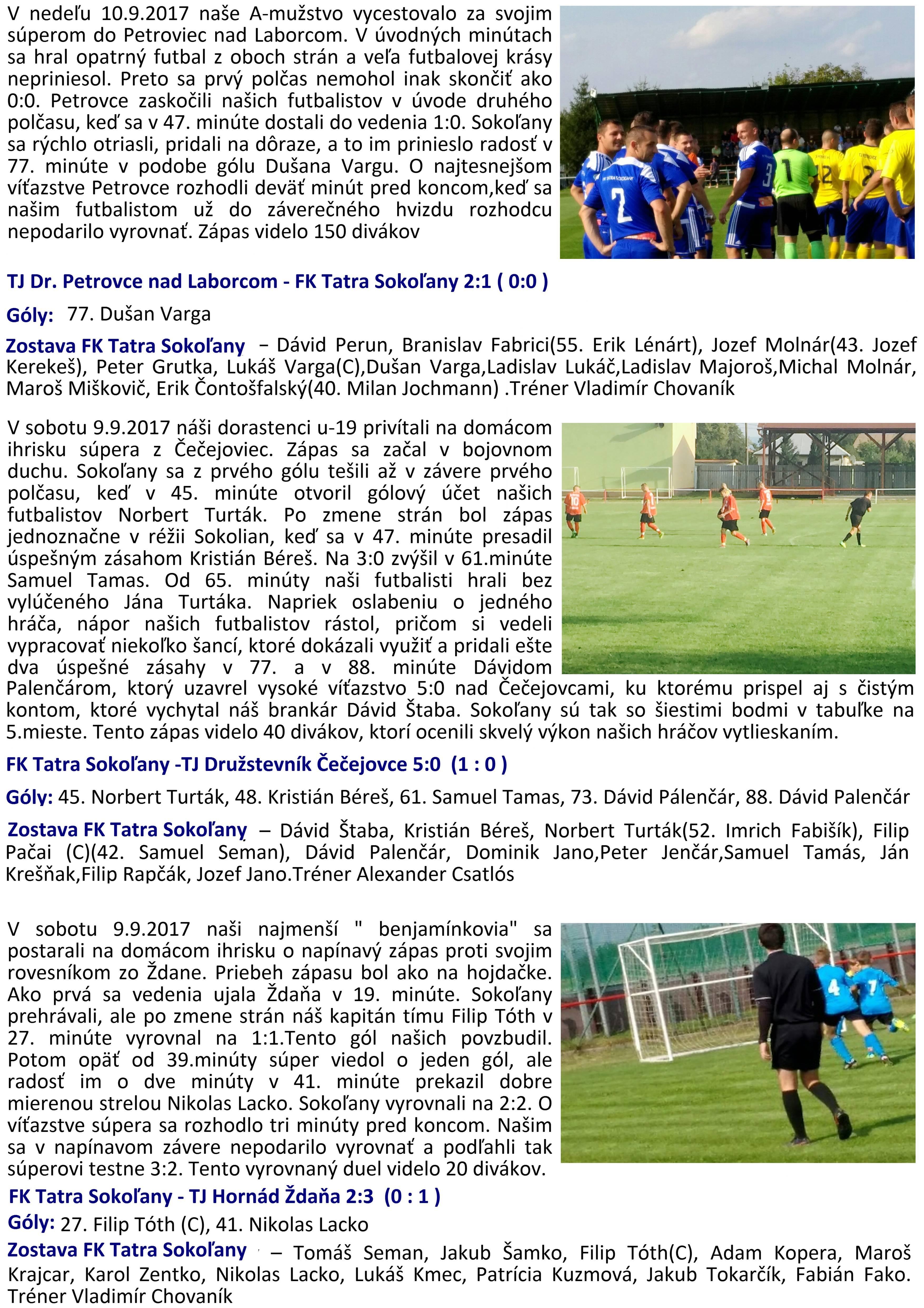 77910c9d2 Výsledky futbalových zápasov prípravky, dorastencov a mužov zo dňa 09. a  10. 09. 2017