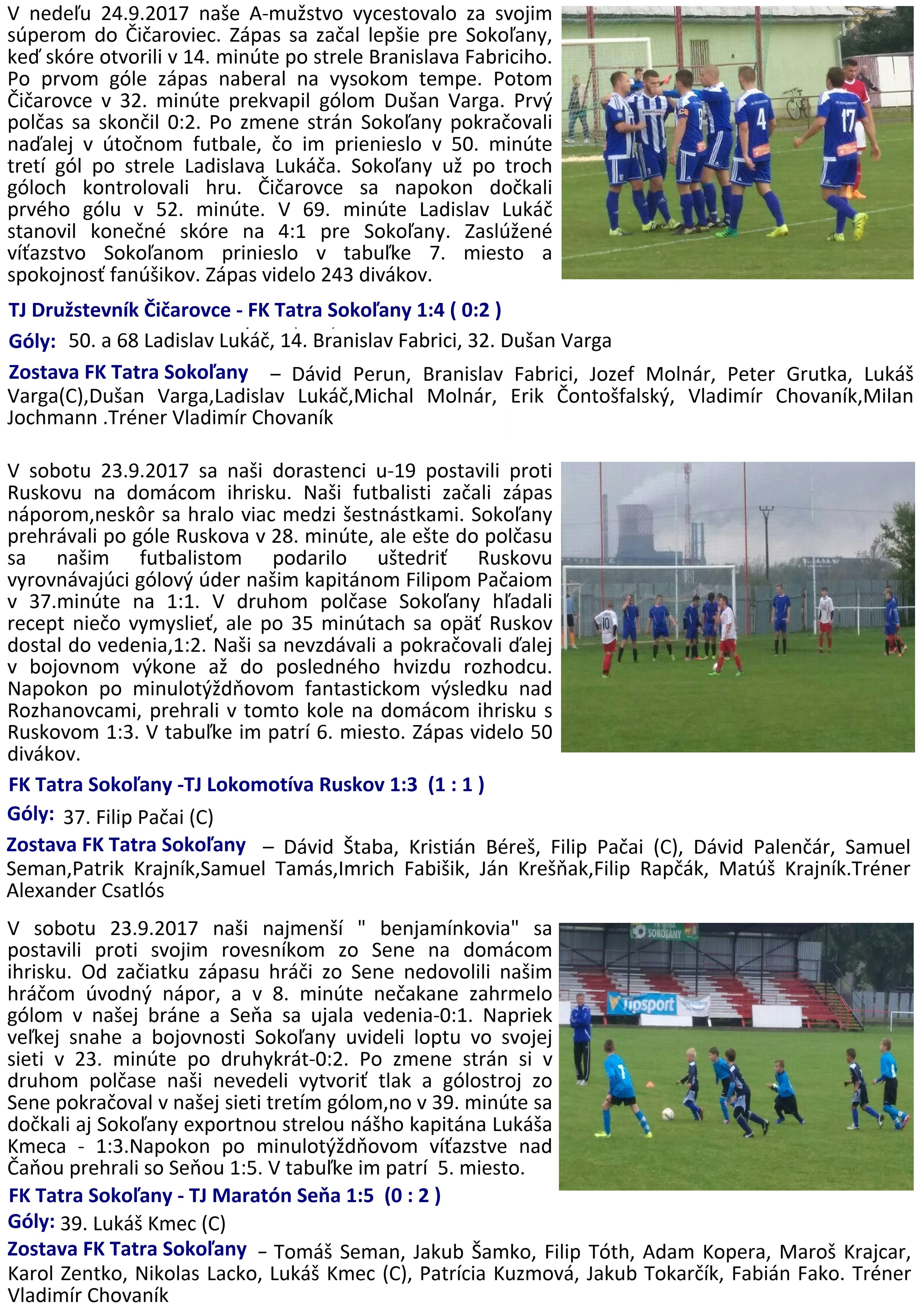 fc2df1718 Výsledky futbalových zápasov prípravky, dorastencov a mužov zo dňa 23. a  24. 09. 2017